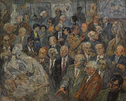Vernisaj al artistului Romul Ladea, la fosta galerie de pe strada Iuliu Maniu. Printre participantii la eveniment se afla Petru Feier, Miklossy Gabor, Petre Abrudan, Aurel Ciupe si insusi Radu Fulger.