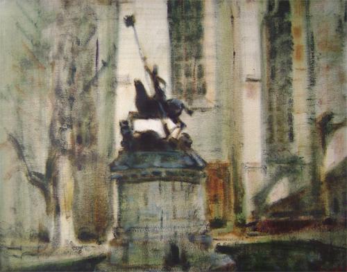 Statuia Sfantului Gheorghe din fata Bisericii Calvine  de pe strada Kogalniceanu - Cluj Napoca